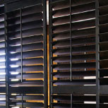 Exus ByPass wooden shutters by Specialty Drapery.