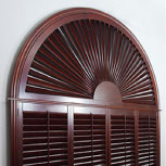 Sunburst Half-Circle Shutters by Exus for home windows.