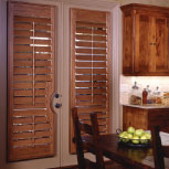 Normandy wooden shutters are handcrafted and offered by Specialty Drapery in four shades.