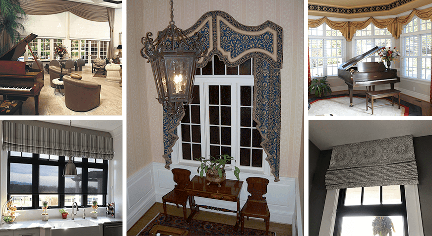 Custom valances, cornices, and lambrequins for house windows in Richmond, VA.