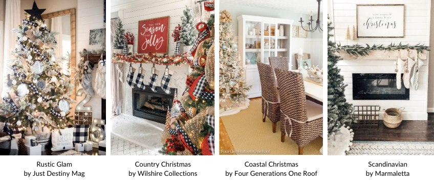 collage of christmas decorating trends