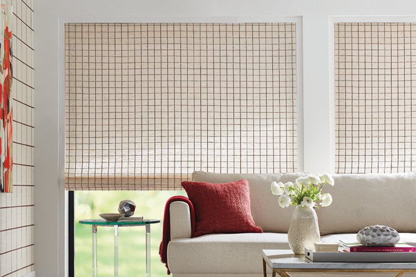 woven shades with checked pattern